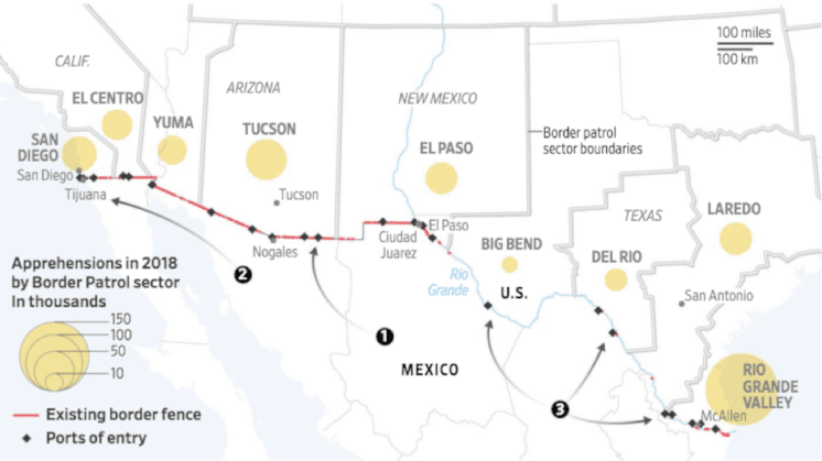 Government Shutdown Over Border Wall Funding Rural Migration News - Us-ports-of-entry-map