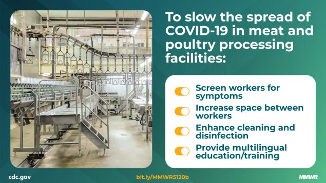 To slow the spread of COVID-19 in meat and poulty processing facilities: Screen workers for symptons, increase space between workers, enhance cleaning and disinfection, provide multilingual education/training