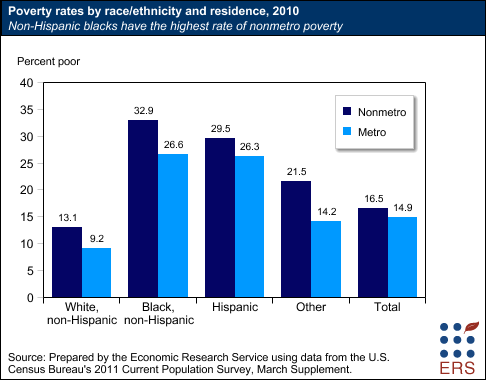 Poverty rates by race/ethnicity and residence, 2010